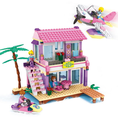Cogo Friends Series 14515 Beach Villa 423 Pcs Building Block Sets for Girls DIY Bricks baby Toys