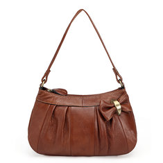Women Cowhide Genuine Leather Butterfly Knot Shoulder Bag Crossbody Bag