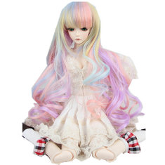 New 8-9 22-24cm 1/3 BJD SD Doll Wig Pink Ombre Long Curly Hair Cosplay Wig