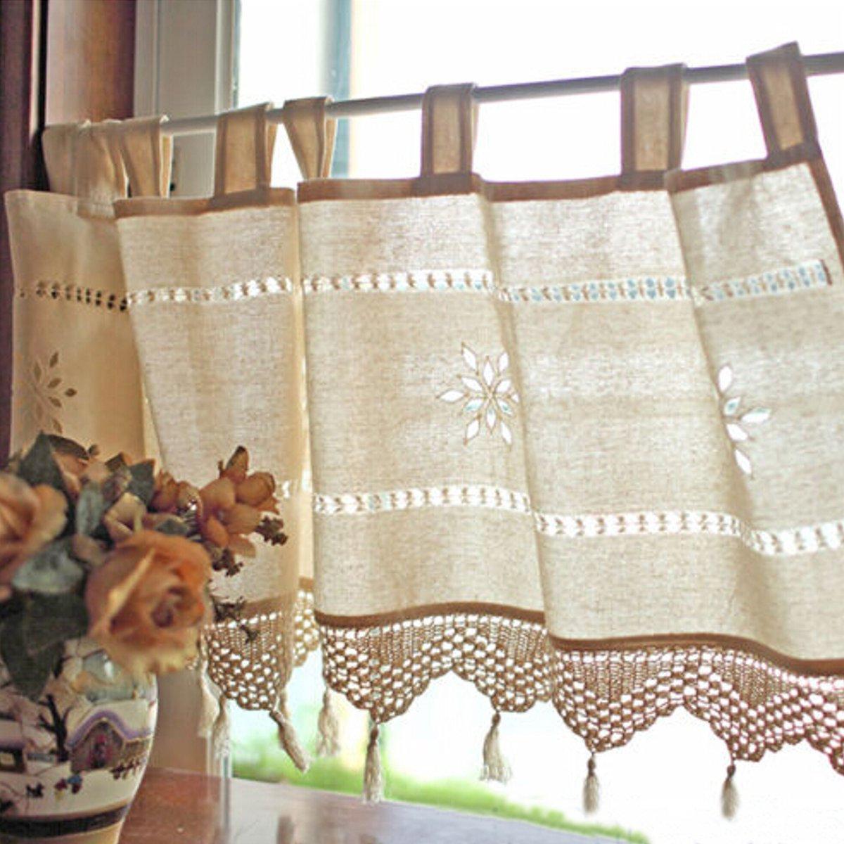 Шторы для кухни лен с вышивкой
