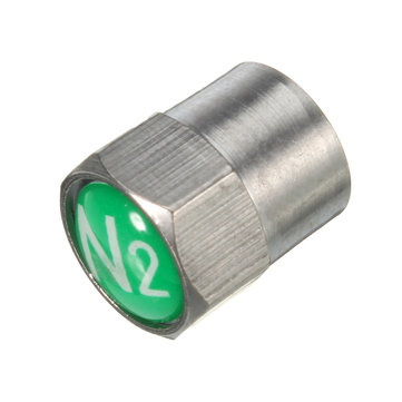 Chrome Green TPMS Valve Stem Caps Nitrogen N2 Insert Prevent Gas Leakage Caps