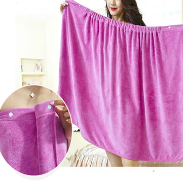 Women Soft Quickly Absorbent Microfiber Cozy Lovely Spa Bathrobe Bath Towel Snap Closure
