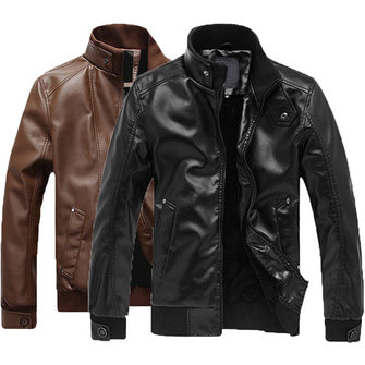 Mens PU Leather Motorcycle Stand Collar Fashion Casual Jacket Black Solid Color Coat
