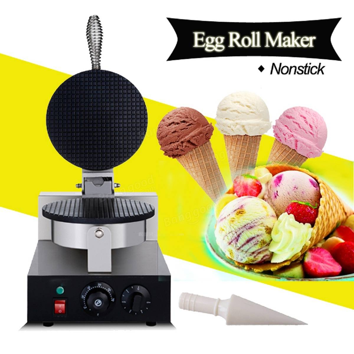 110V/220V Egg Roll Maker Baker Pastry Making Baking Tools Electric Ice Cream Cone Machine US Plug