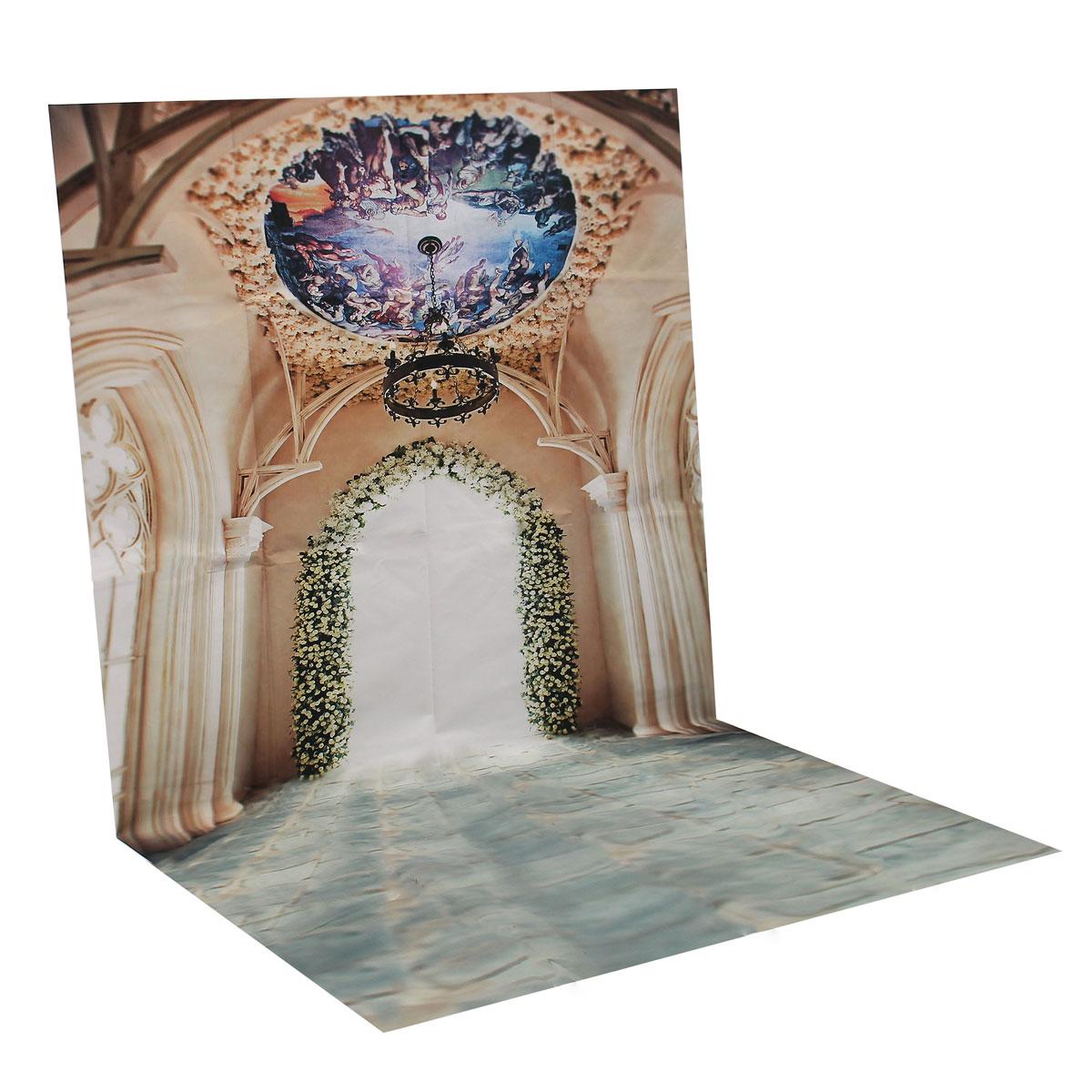 Vinyl háttér fotózáshoz.Csarnok/palotát ábrázoló stúdió háttér 90*150cm