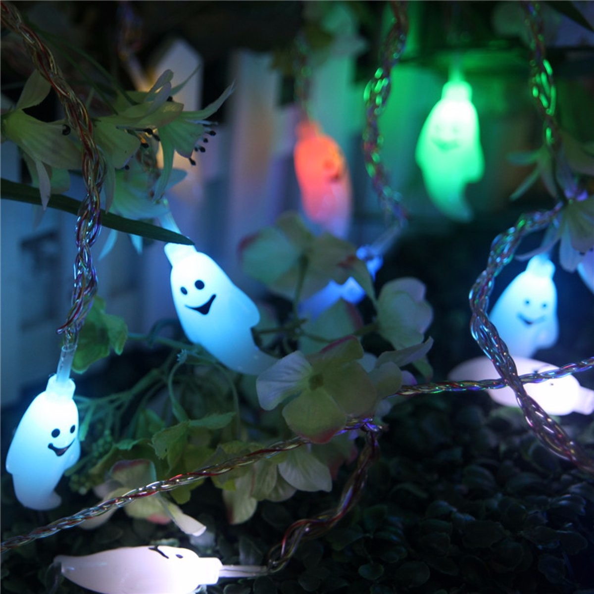 Halloween 20 LED Ghost Colofrul String Lights Garden Courtyard Holiday Decoration Lamp