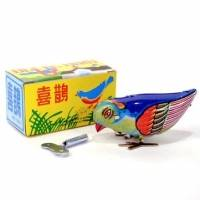 Vintage Wind Up Bird Pecking Tin Mechanical Toy