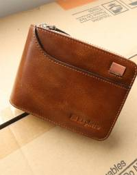 Ekphero Men RFID 14 Card Slots Vintage Oil Leather Short Wallet Coin Bag