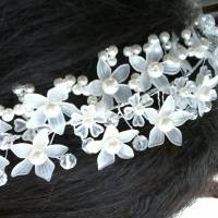 Bride Flower Artificial Pearl Headpiece Bridal Wedding Headbrand Hair Accessories