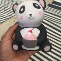 Orange Squishy Panda Holding Cake 12cm Slow Rising With Packaging Collection Gift Decor Toy