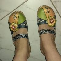 SOCOFY Vintage Colorful Leather Hollow Out Backless Flower Shoes