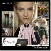 Pink Hit Color Stitching Stand Collar Cat Pattern Fitting Sweater