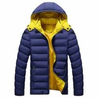 Winter Thick Warm Hooded Padded Cotton Contrast Color Zipper Jackets for Men