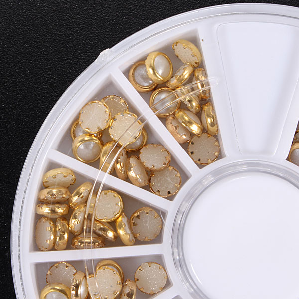 3D Multi-color Pearl Rhinestone Metal Nail Art Decoration Wheel
