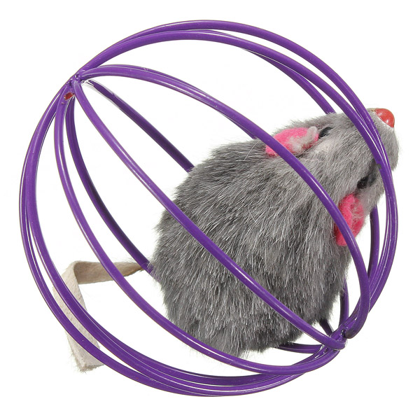 Pet Cat Kitten Cute Artificial Mouse in Rolling Rat Cage Ball Play Toy