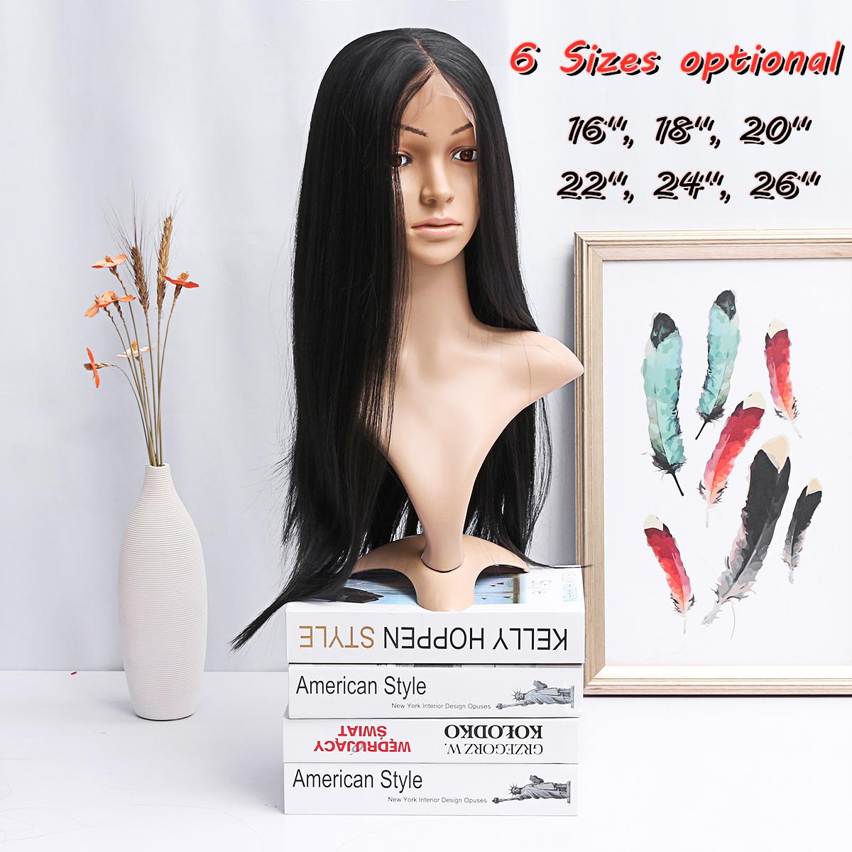 Lunghe donne Parrucca pizzo frontale pieno nero Capelli micro twist con gradiente di densità completa
