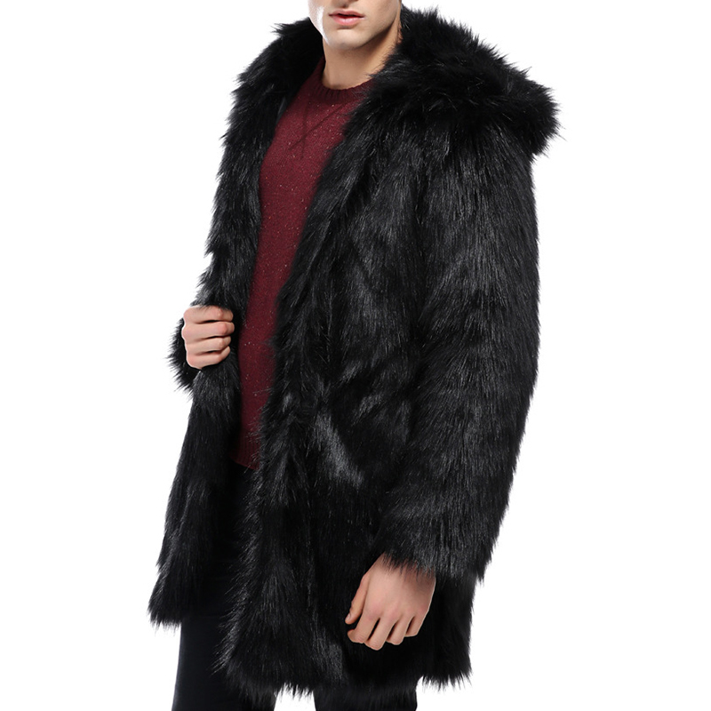 M-5XL Hooded Faux Fur Warm Trench Coat