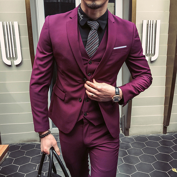 Mens Three Pieces Solid Color Slim Fit Blazer Suit