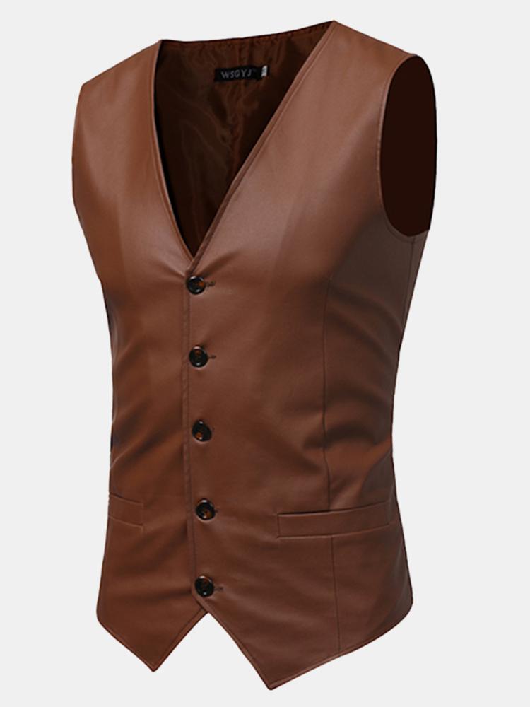 V Neck Solid Leather Vest