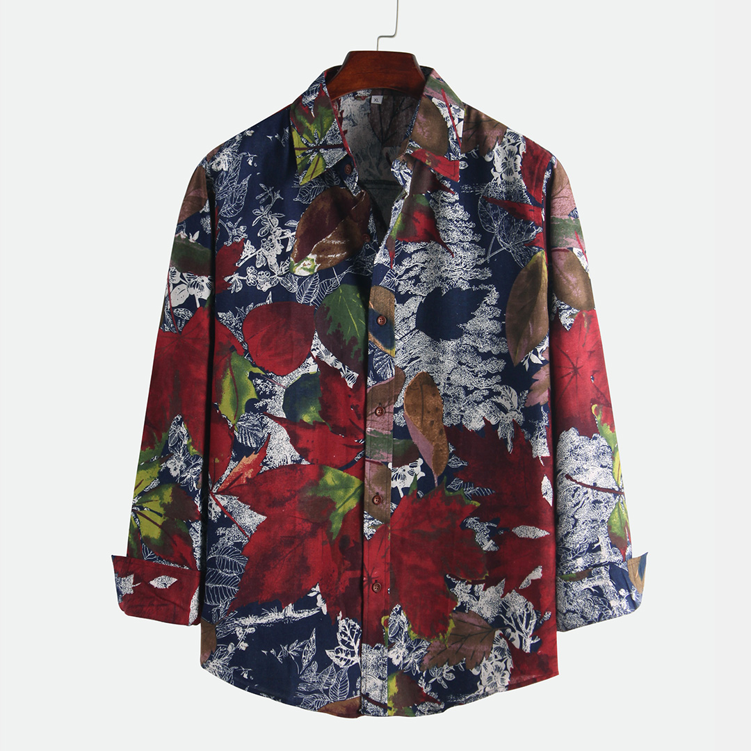 Ethnic Style Big Leaves Printing Shirts