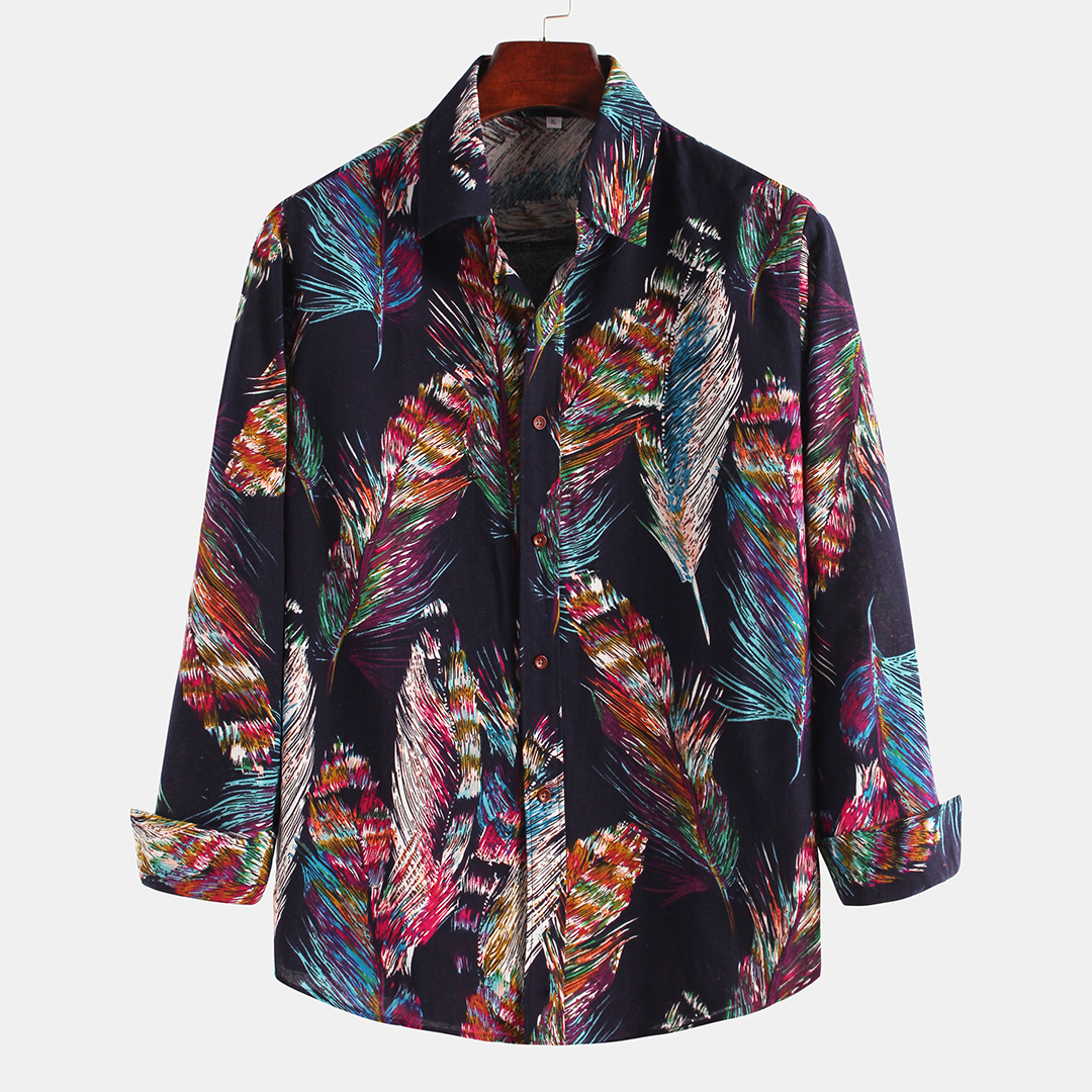 Colorful Feather Printing Ethnic Style Shirts