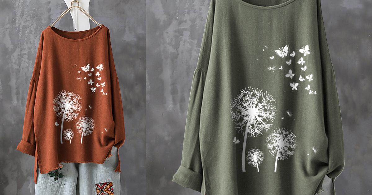 Casual Print Butterfly Flower T-Shirt