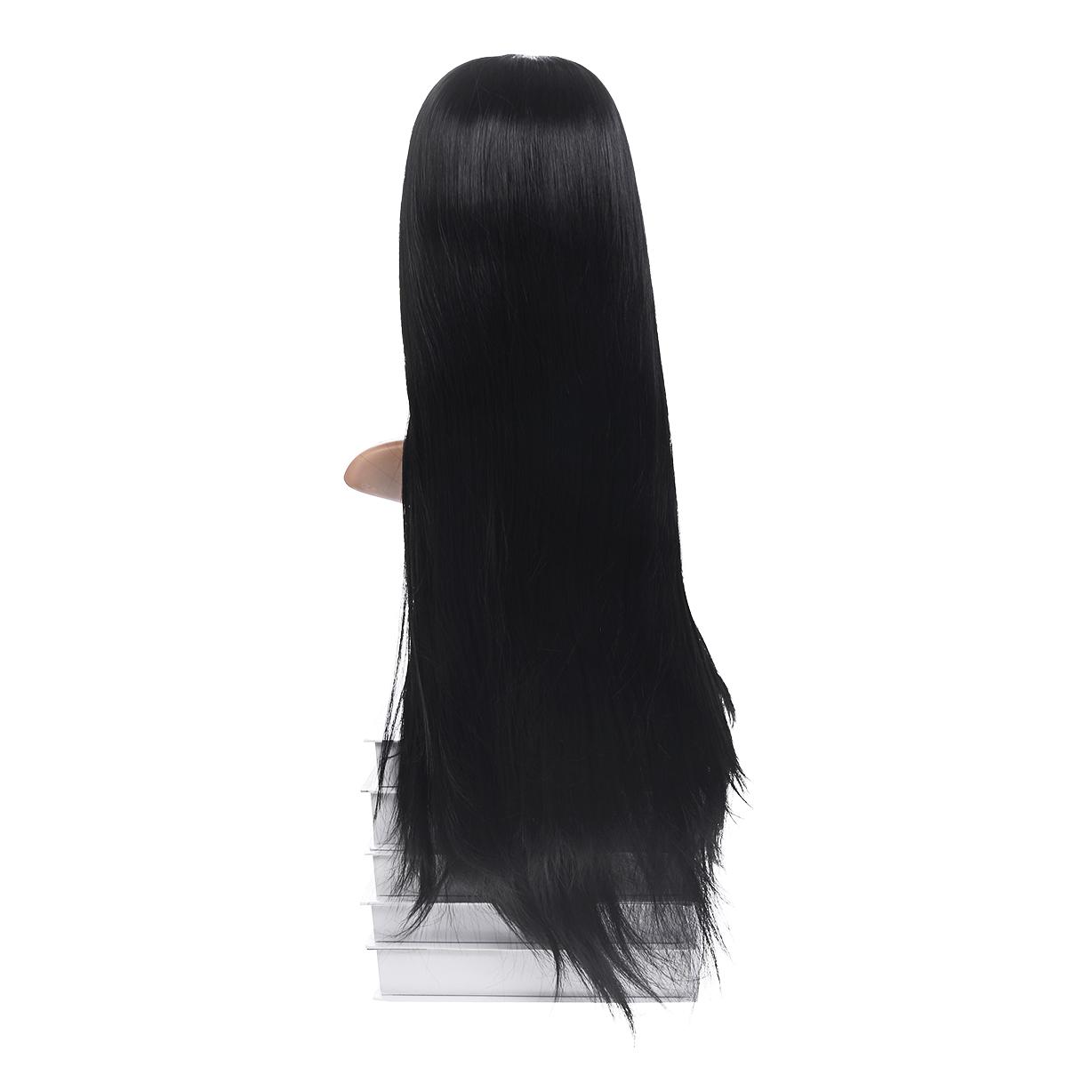 Frauen Lange Perücke Volle Frontspitze Schwarzes Haar Micro Twists Full Density Gradient