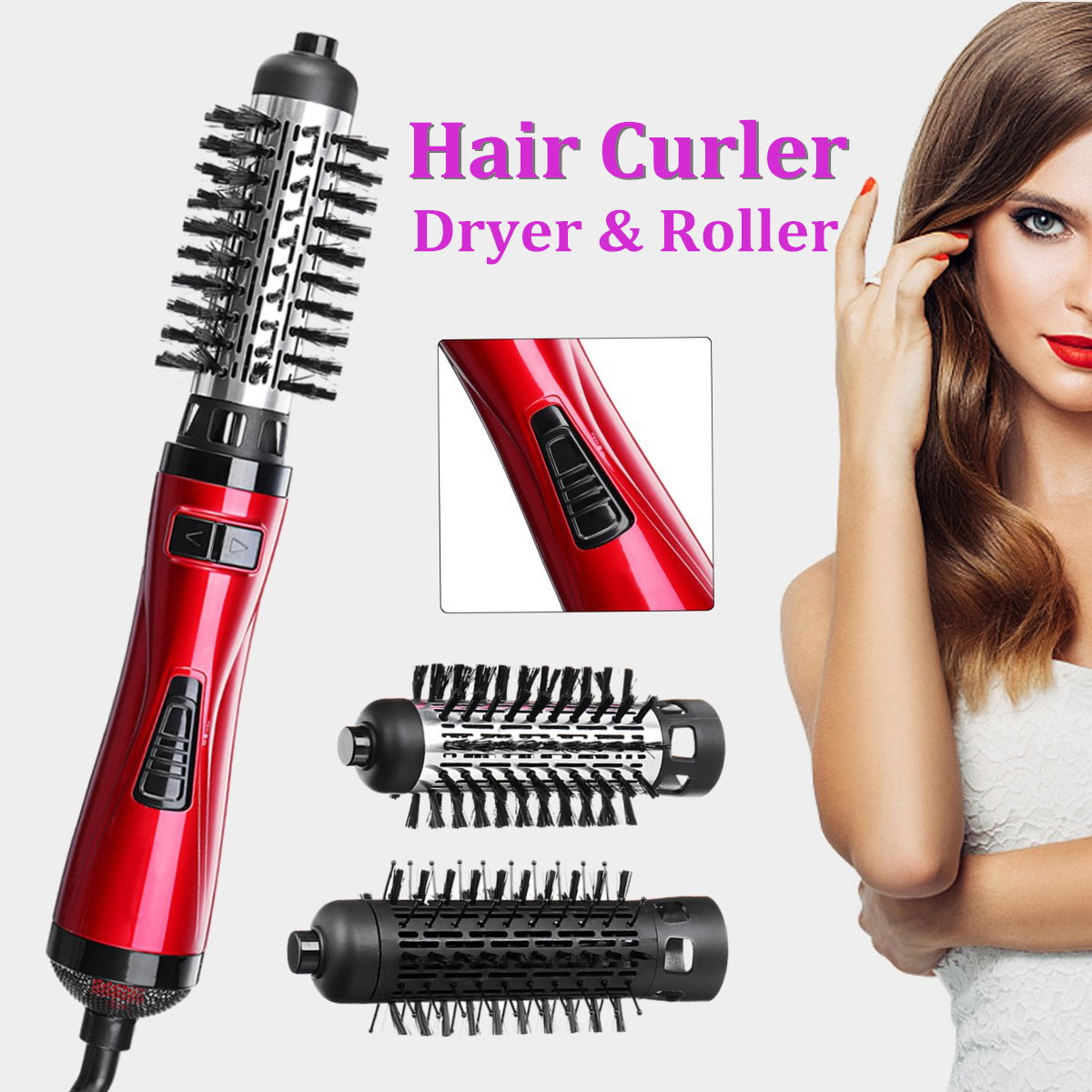 2 in 1 Hair Curling Brush Auto Hot Salon Styling Rod Dryer Roller Rotating Wand