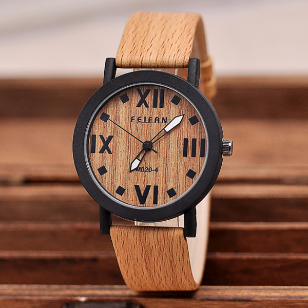 Vintage Wood Grain Roman Number Men Women Quartz Watch