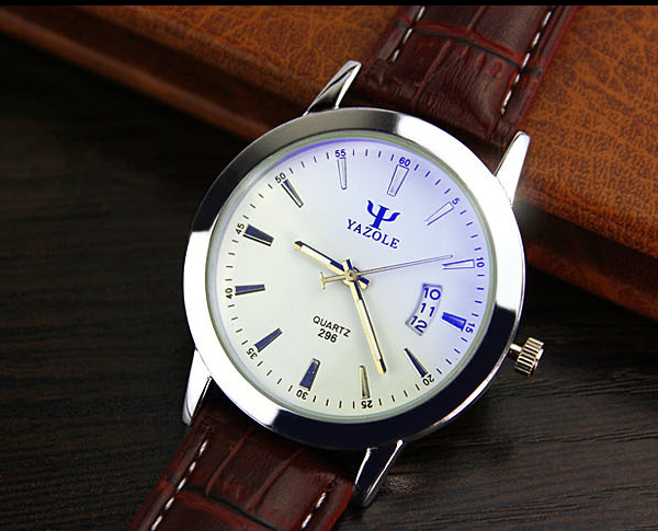 YAZOLE 296 Blue Glass PU Band Big Dial Waterproof Quartz Watch