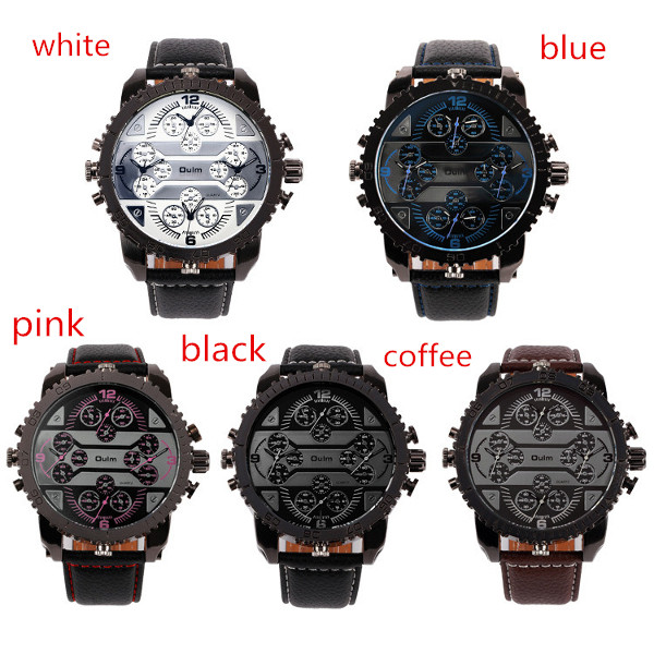 OULM 3233 Fashionable Leather Band Four Time Zones Quartz Watch