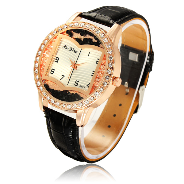 Casual Crystal Book Shape Design Leather Band Wrist Watch