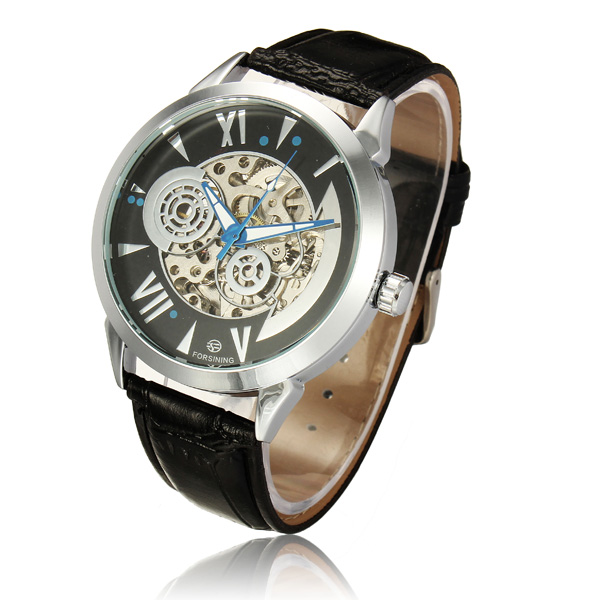 Forsining 897 Black White Leather Band Mechanical Wrist Watch