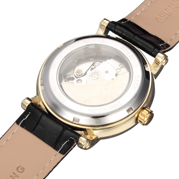 Frosining 800 Gold Case Mechanical Leather Band Wrist Watch