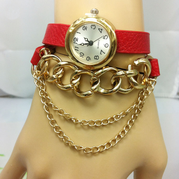 Casual Necklace PU Leather Long Strap Bracelet Women Watch