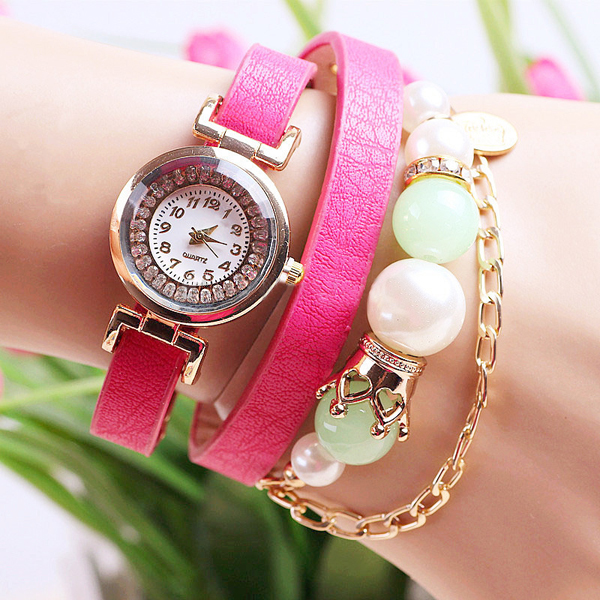 Casual Women Pearl Necklace PU Leather Band Bracelet Watch