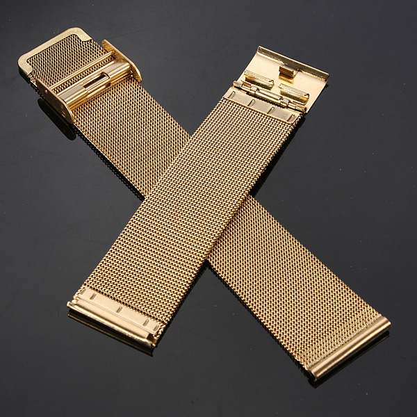 18/20/22/24mm Gold Stainless Steel Mesh Net Watch Band