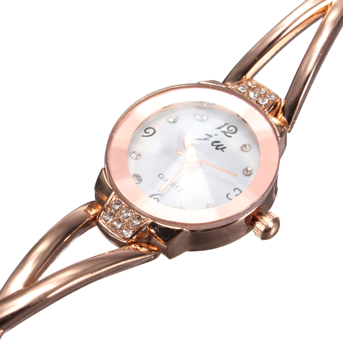 Women Rose Gold Plated Round Dial Crystal Bracelet Quartz Watch