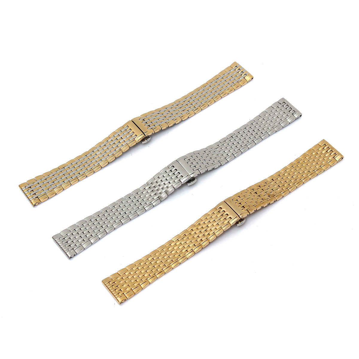 18mm Black Silver Gold Stainless Steel Solid Nine Bead Watch Band