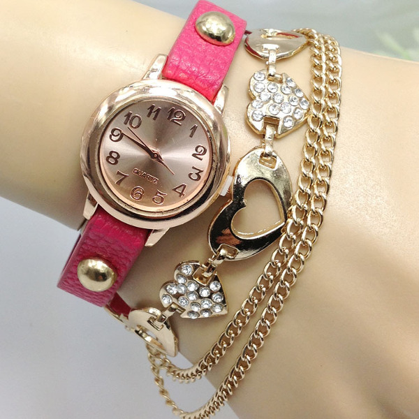 Vintage Heart Pendant Chain PU Leather Band Women Bracelet Watch