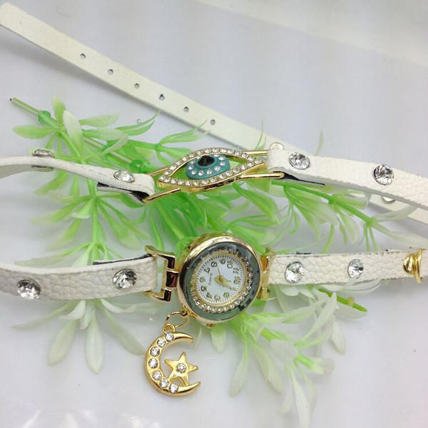 Rhinestone Moon Pendant Eye PU Leather Women Bracelet Watch