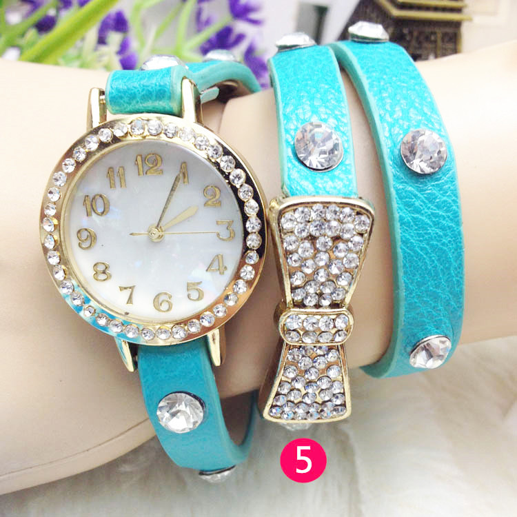 Butterfly Knot Rhinestone Long Strap Women Bracelet Watch