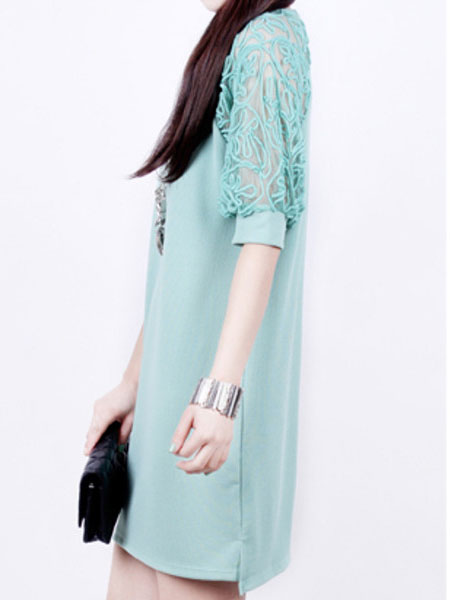Fashion Women Summer Maxi Loose Lace Short Sleeve Round Neck Dresses