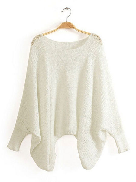 Women Autumn Batwing Sleeve Casual Hollow Knitted Pullover Sweater
