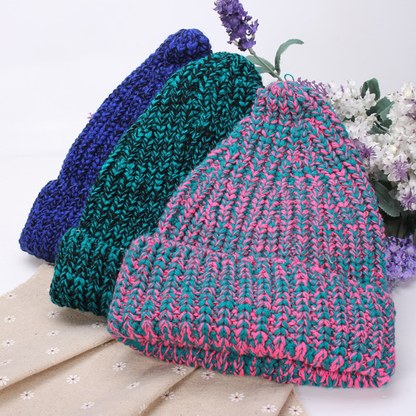 Women Fashion Contrast Color Warm Knit Hat Wool Cap