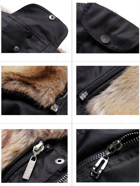 Women Removable Faux Fur Liner Thicken Hooded Warm Coat Outwear