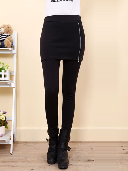 Casual Women Pure Color Side Zipper Bag Hip Skirt Slim Leggings
