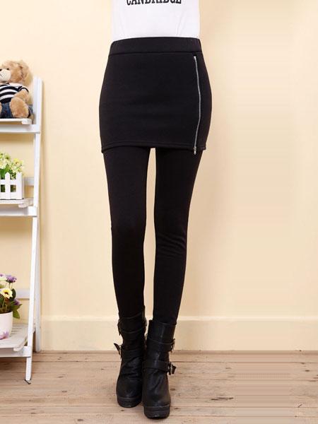 Casual Women Pure Color Side Zipper Bag Hip Skirt Slim Leggings