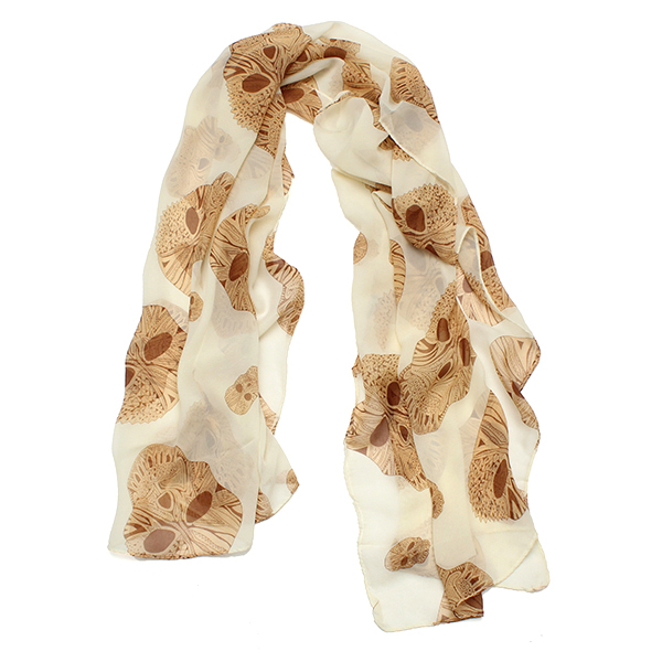 Women Diamond Skull Skeleton Print Shawl Scarf Long Wrap Stole