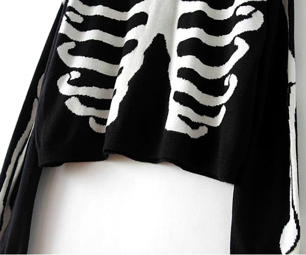 f4e7d595818 casual women black skull bone knit pullover sweater at Banggood sold out